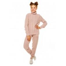 Пудровый вязаный комплект свитер и штаны на девочку р.34-42