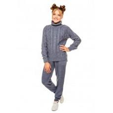 Детский вязаный костюм джинсового цвета и штаны на девочку р.34-42