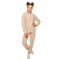 Бежевый вязаный комплект свитер и штаны на девочку р.34-42