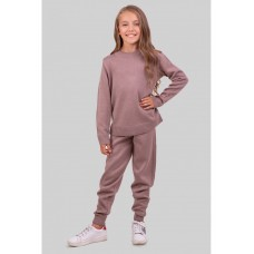 Теплый вязаный костюм цвета моко для девочки 34-42р