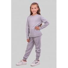 Светло-серый теплый вязаный костюм для девочки 34-42р