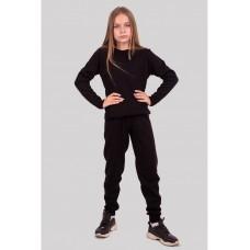 Черный теплый вязаный костюм для девочки 34-42р