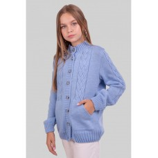 Теплая голубая вязаная кофта на девочку 34-42 р